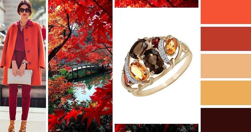 Женское кольцо с дымчатым кварцем