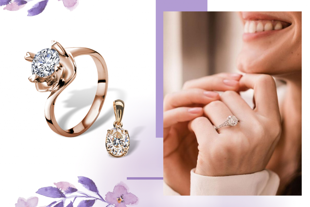 Бриллианты большие кольцо кулон
