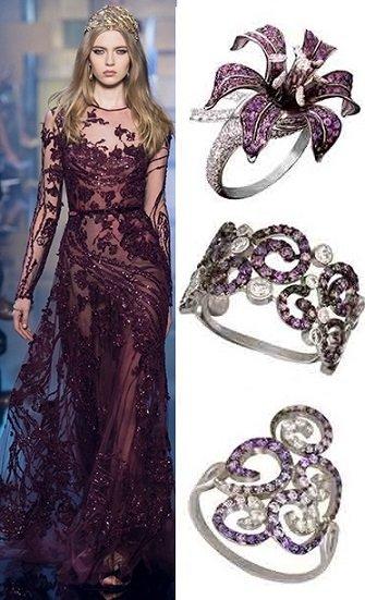 Кольца с фиолетовыми вставками из золота 585 пробы