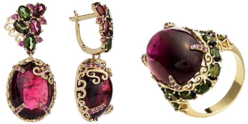 Золотые серьги и кольцо с турмалином