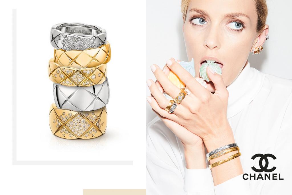 Кольца Шанель белое и желтое золото