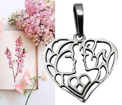 Серебряный кулон в виде сердца
