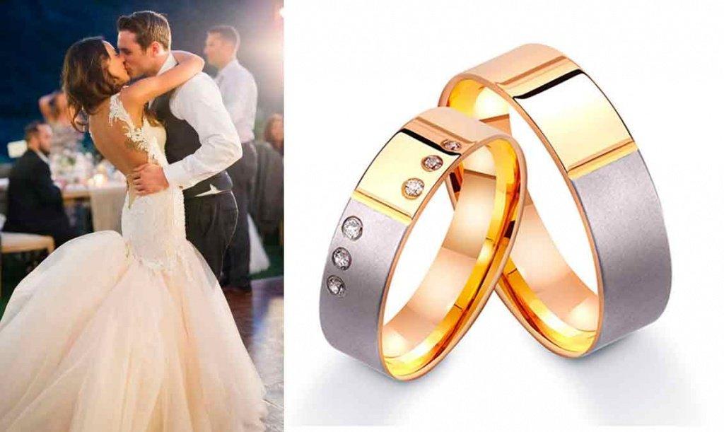 Золотые обручальные кольца с камнями
