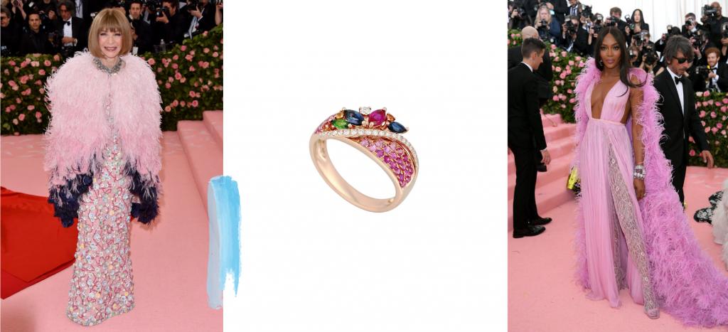Кольцо в розовой усыпке