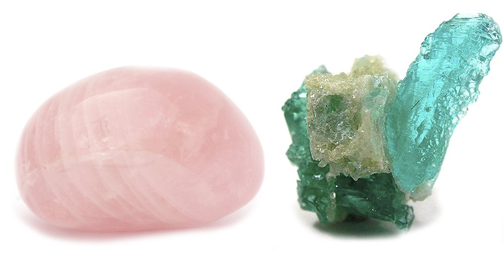 Турмалин и розовый кварц вместе приносят достаток