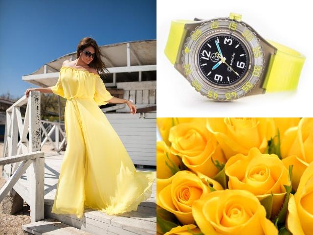 Яркие желтые часы с полимерным корпусом