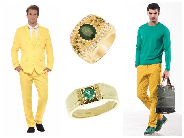 Мужские золотые кольца с изумрудами