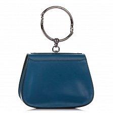 Кожаный клатч Genuine Leather 8812 приглушенного синего цвета с круглой металлической ручкой