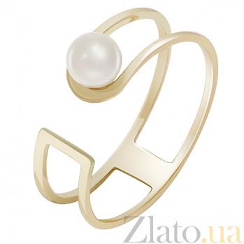 Кольцо из желтого золота с жемчугом Закат у моря 000032809