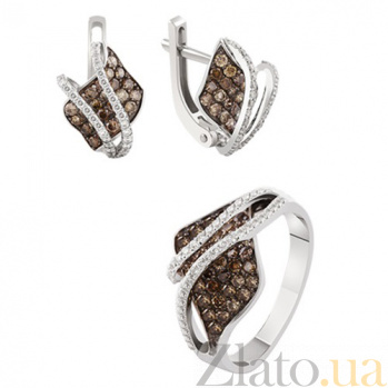 Золотой гарнитур с бриллиантами Магда KBL--Г0167/бел/брил