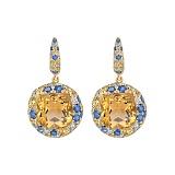 Золотые серьги с цитринами и бриллиантами Mila