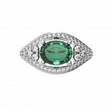 Серебряное кольцо Лавина с изумрудом и фианитами