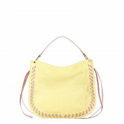 Кожаная сумка на каждый день Genuine Leather 8701 желтого цвета с розовыми вставками, на молнии