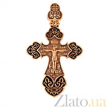 Золотой крестик с черным родием и эмалью Архангел VLT--КС3036-Э-3