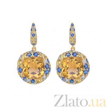 Золотые серьги с цитринами и бриллиантами Mila 1С113-0168