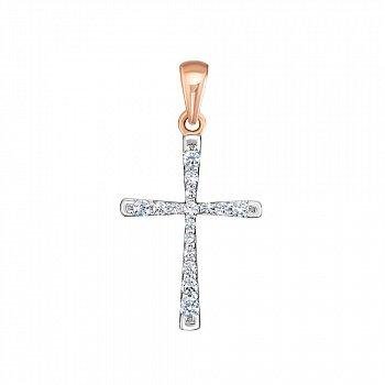 Хрестик у червоному золоті з цирконієм Swarovski 000126380
