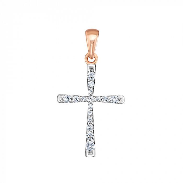 Крестик в красном золоте с цирконием Swarovski 000126380 000126380