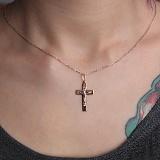 Золотой крестик Силы небесные в комбинированном цвете
