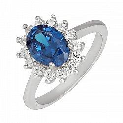Серебряное кольцо с синим и белыми фианитами 000025484