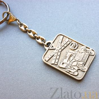 Позолоченый серебряный брелок Святой Христофор оберег для водителя с карабином и кольцом 000094973