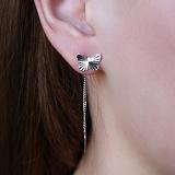 Серебряные серьги-цепочки Бабочки