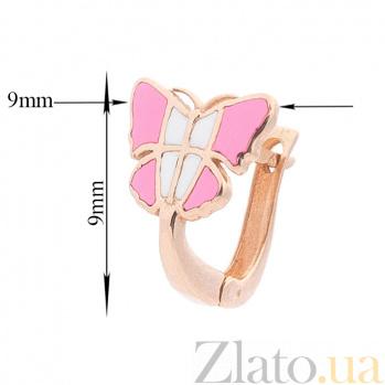 Детские золотые серьги Легкие бабочки с розовой и белой эмалью 000091817
