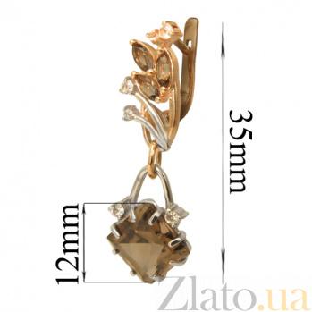 Золотые серьги с дымчатым кварцем и топазом Кристая PTL--1с344/28