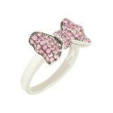 Серебряное кольцо с фианитами Розовый бант