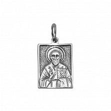 Серебряная прямоугольная ладанка Святой Николай Чудотворец с чернением