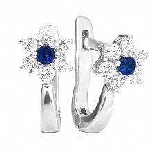 Серебряные сережки Незабудки с синими и белыми фианитами