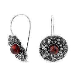 Серебряные серьги с янтарем и фианитами 000149492