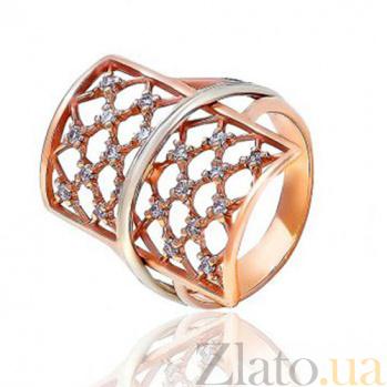 Золотое кольцо с цирконием Ажурная россыпь EDM--КД0440