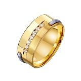 Золотое обручальное кольцо Крепкая семья с цирконием