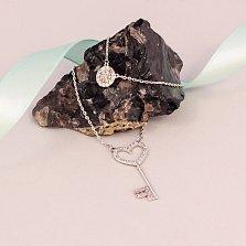 Серебряное двойное колье Секрет любви с фианитами