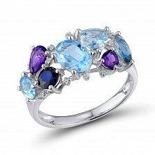 Кольцо из белого золота Марта с голубыми топазами, аметистами, сапфирами и бриллиантами