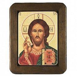 Икона на деревянной основе Спаситель с цветной эмалью, 24х30 000076176