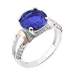Серебряное кольцо с золотыми накладками, альпинитом и фианитами 000099004