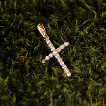 Золотой крестик Мадена с белыми фианитами 000079923
