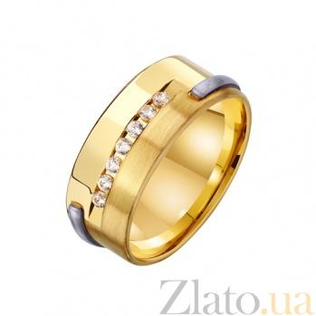 Золотое обручальное кольцо Крепкая семья с цирконием TRF--452699