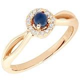 Золотое кольцо Ранним с сапфиром и бриллиантами