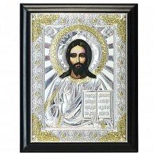 Икона на деревянной основе Христос Спаситель с позолотой и эмалью, 15х19