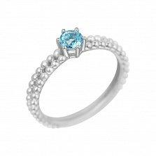 Кольцо в белом золоте Милагрос с голубым топазом
