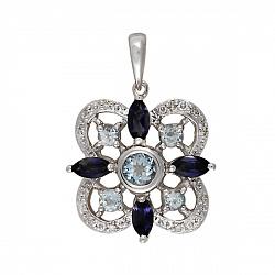 Кулон из белого золота Глориана с голубым топазом, иолитом и бриллиантами