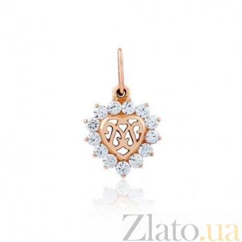 Золотой кулон Королевское сердце с фианитами EDM--П0228