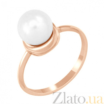 Золотое кольцо с жемчугом Нежность 000023168