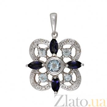 Кулон из белого золота Глориана с голубым топазом, иолитом и бриллиантами 000094304