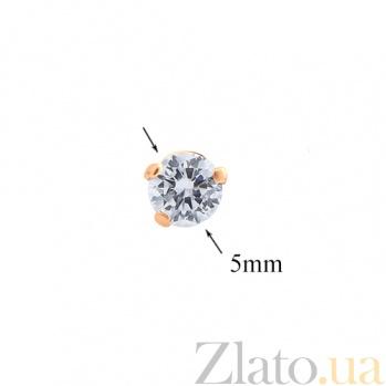 Серьги-пуссеты золотые с цирконием Светлый миг 000024273