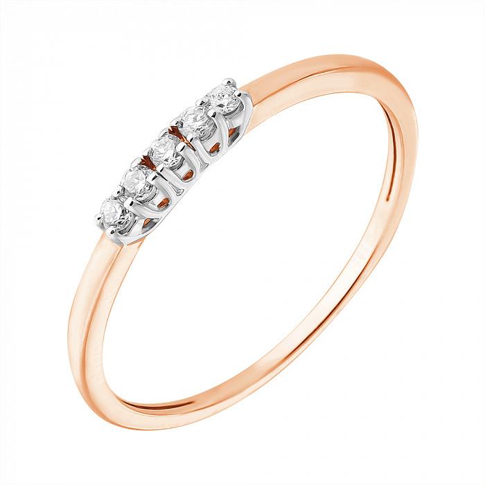 Кольцо из красного золота Путь к успеху с бриллиантами EDM--КД7492