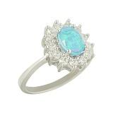 Серебряное кольцо с дуплетом из опала и стекла Морин