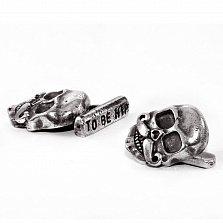 Запонки из серебра Bernie & Bob усатый череп с чернением